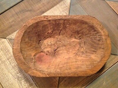 Carved wooden dough bowl primitive wood trencher tray rustic home decor