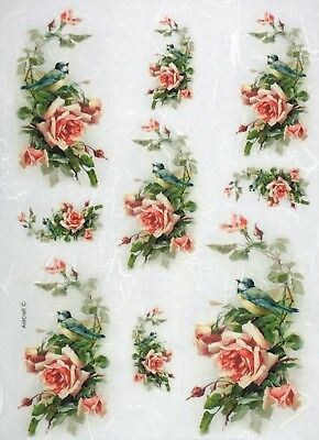 Rice Paper for Decoupage Scrapbook Craft Sheet Small Roses Bouquets
