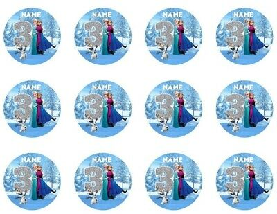 Frozen Personalised Edible Icing Cupcake Toppers PRE-CUT 12 or 24