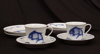 Vintage 8 Pieces Chinese Koi Carp Fish Blue White China Bowls, Plates, Tea Cups