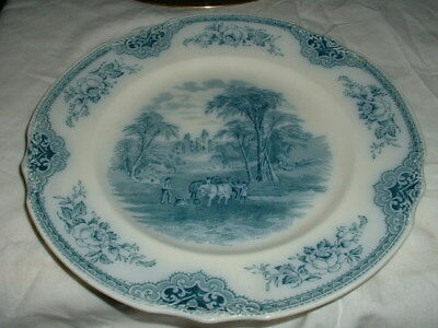 Stunning Antique English Flow Blue Pottery Decorative Plate