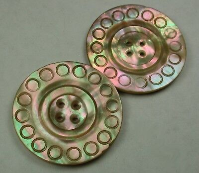 2 Lg Sz Antique Iridescent Shell Buttons w/ Carved Design - 1 & 3/8