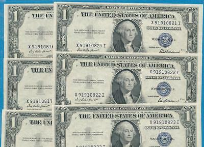 10-$1.00 1935-F Gem New Consecutive  Blue Seal Silver Certificate Dealers Lot