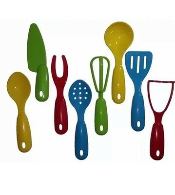 8 Pcs Cooking Fun Mini Plastic Kitchen Cooking Play Set Utensils Childs  Kids Toy