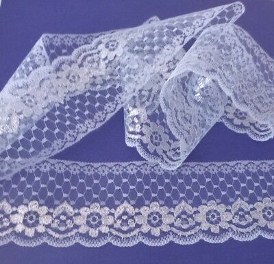 10 metres   of  So Pretty light  Blue / Silver    Flat  Lace        7 cm wide