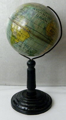 "I have a c1900s 3"" tin litho World Globe on tin and wooden stand Germany"