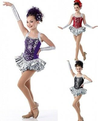 Fabulous Dance Costume BLACK,RED,PURPLE Ice Skating Tap Christmas CXS,6X7,AL