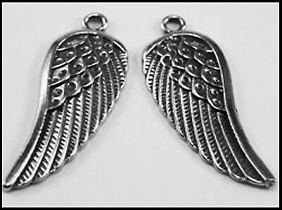 PEWTER CHARM #297 x 2 ANGEL WINGS (14mm x 35mm) WINGS (matching pair)