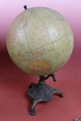 Antique Rand McNally 8 Inch Terrestrial World Globe~ Iron Ball and Claw Base