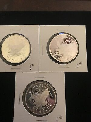 (3) 1 Troy oz Sunshine Minting .999 Fine Silver Round Mint Mark SI