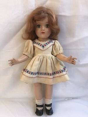 """Vintage Ideal P-90 14"""" Red Hair Toni Doll In Original Dress"""