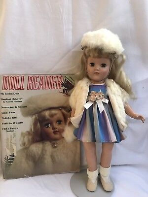 """Vintage Ideal P-90 14"""" Toni Doll In Original Dress, Muff And Hat"""