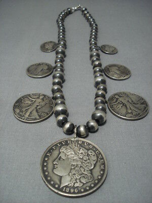 Vintage Navajo Coin Sterling Silver Squash Blossom Necklace Old