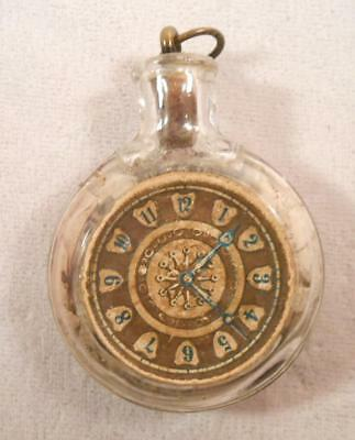 Vintage Glass Candy Container - Pocket Watch with Paper Dial - Diamond T Back