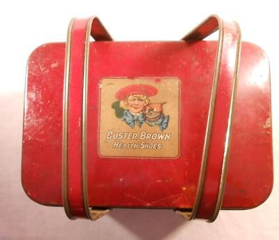 Rare Early Vintage Buster Brown & Tige Lunchbox - Shoe Advertisement - Tindeco