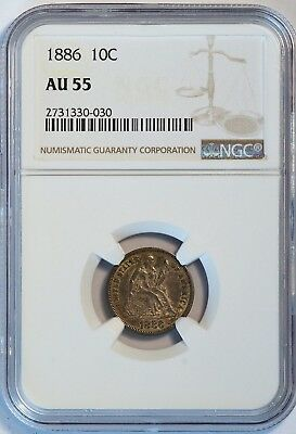 1886 10C US Liberty Seated Silver Dime Coin (NGC AU 55 AU55) (08007)