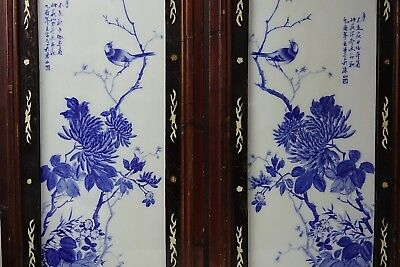 Stunning Chinese Pair Of Porcelain Panels In Wooden Frames - Signed - Very Rare