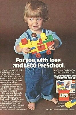 "1978 LEGO Original print page Ad ""for you, with love and LEGO PreSchool"""