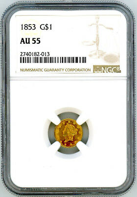 1853 Gold Liberty $1 One Dollar - NGC AU55
