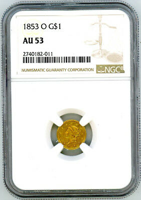 1853 O Gold Liberty $1 One Dollar - NGC AU53