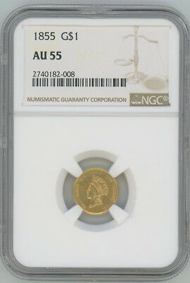 1855 Gold Liberty $1 One Dollar - NGC AU55