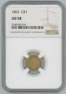1862 Gold Liberty $1 One Dollar - NGC AU58