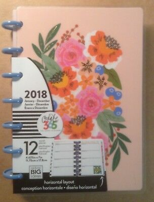 """NEW 2018 MINI Happy Planner """"FUNKY FLORAL"""" 12 Month HORIZONTAL Planner"""