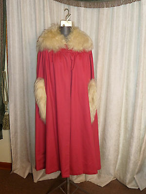 Circa 1917 to 1921 Rose Pink Wool Cape Cloak With Sheepswool Collar And Cuffs
