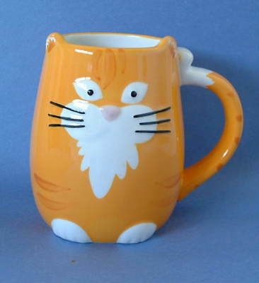 New Tag Hand Painted Ceramic 3 D Orange Tabby Cat Kitten 14oz Mug Tail Handle