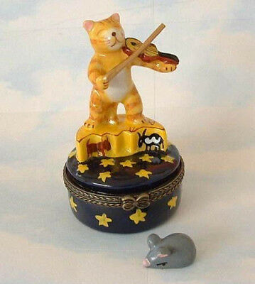 New Handpainted Hey Diddle Yellow Tabby Cat Kitten Fiddle Porcelain Hinged  Box