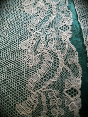 """4"""" wide French Antique lace Tambour Alencon Victorian tulle 3 yards Chantilly"""
