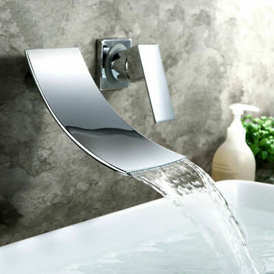 Chrome Tub Faucet Bathroom Sink Mixer Tap Waterfall Spout Mixer Tap Wall Mount