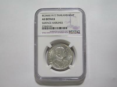 Thailand Be2460 1917 Baht Silver Type Ngc Au-D Old World Coin Collection Lot