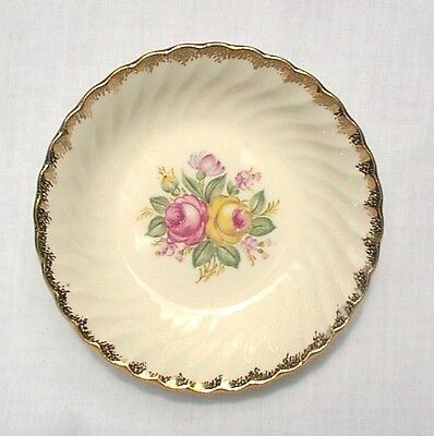 "Quban Royal  5 1/2"" Fruit Sauce Bowls China White Gold Trim Pink Flowers EIGHT"