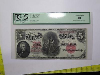 1907 $5 Legal Tender Fr92 Pcblic Error Pcgs Old Currency Banknote Collection Lot