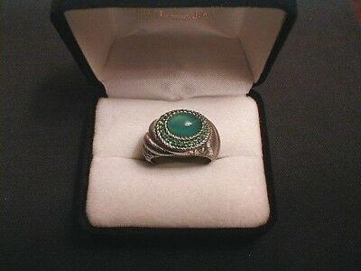 Judith Ripka Sterling DOUBLE GREEN EMERALD Textured Ring - Size 9