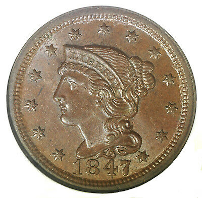 1847 BRAIDED HAIR LARGE CENT NGC MS65 BROWN N-39, DS a. R-3 CAC APPROVED