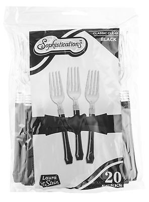 Sophistications 2 Pc Forks Clear Head With Black Handle Pack Of 20 New
