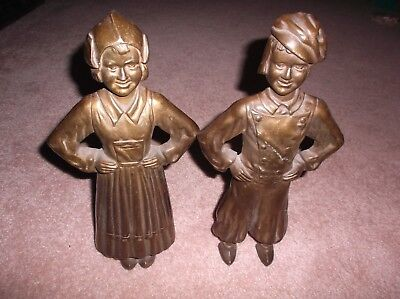 Vintage Collectible Dutch Boy & Girl Cast Iron Fireplace Andirons