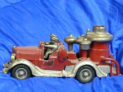 ANTIQUE large 8+ inch Hubly cast iron fire pumper truck nickel plated parts 30's