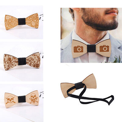 Fashion Men's Simple Handmade Wooden Bowtie Wood Bow Ties Wedding Party Gifts