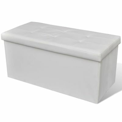 New Leather White Storage Ottoman Bench Seat Chair Stool Bed Box Organiser 85cm