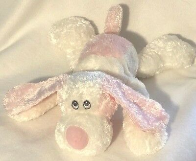Aurora Baby Puppy Dog Pink White Plush Stuffed Toy Animal 10 in Lovey Security