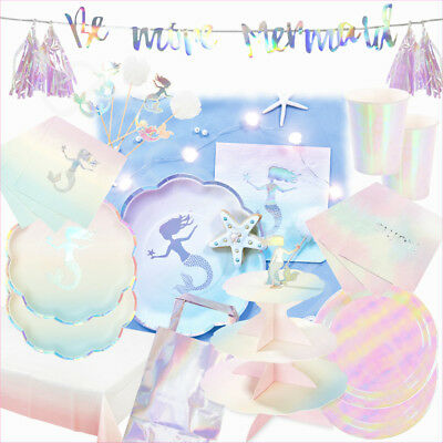 Mermaid Birthday Kids Party Supplies Tableware & Decoration  Plates/Napkins/Cups