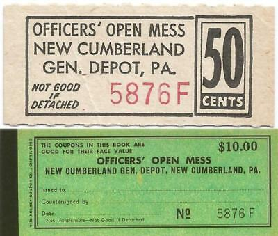 1946 NEW CUMBERLAND PENNSYLVANIA Good For 50¢ OFFICERS' OPEN MESS Chit or COUPON