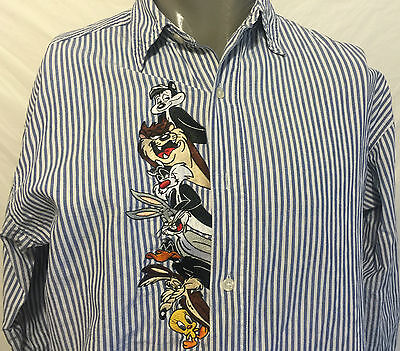 VTG Looney Tunes Striped Embroidered Long Sleeve Shirt Size M Taz Bugs Wiley Cat