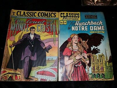 Lot of 2 CLASSICS Illustrated The Count of MONTE CRISTO Comic Hunchback of Notre