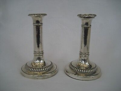 GOOD PAIR OF GEORGE III SOLID SILVER CANDLESTICKS - J Roberts, Sheffield, 1813.