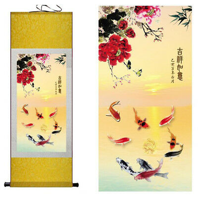 "Birds  silk painting Chinese traditional silk art painting flower paint12""x40"""