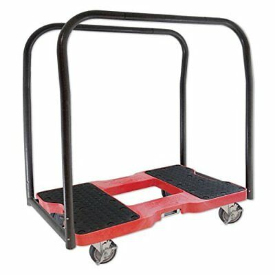 Panel Cart Dolly Red w/1,500 Lb Capacity, Steel Frame, Strap Option, 4'' Casters